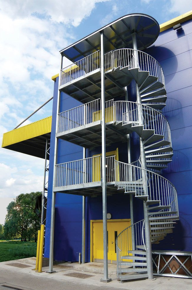 Three Storey Fire Escape With Guard Rail And Access Balconies
