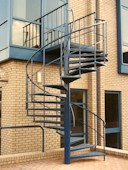 Blue Powder Coated Fire Escape Spiral Stair
