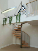 Stainless Steel and Hardwood Spiral Staircase