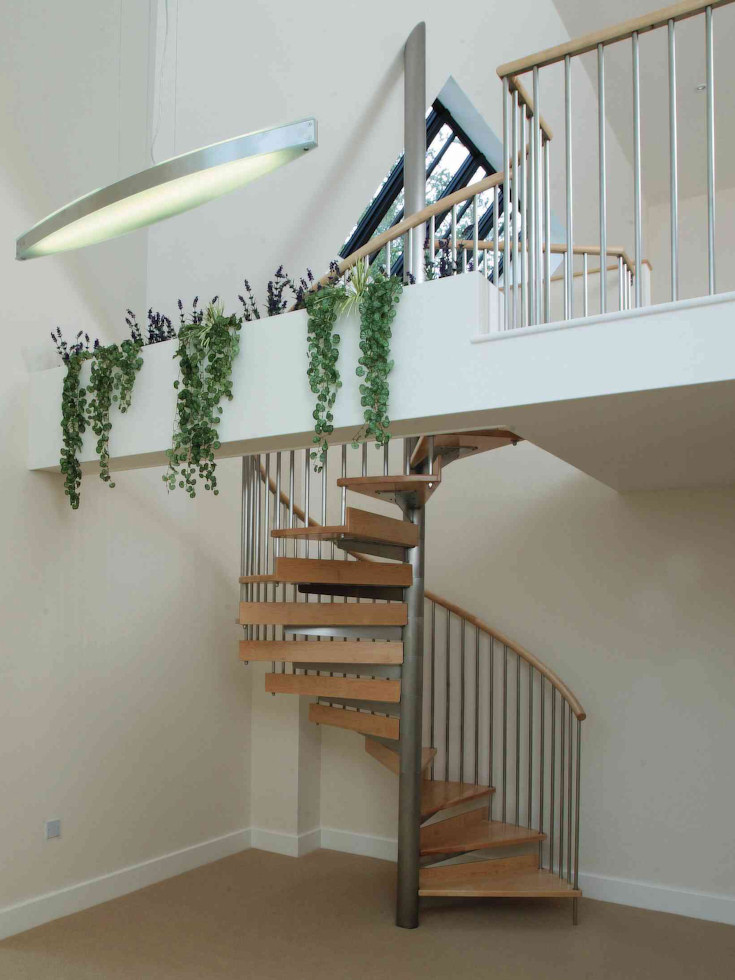 Wonderful ... Beautiful Ready Made Staircase #9: Stainless Steel And Hardwood Spiral  Staircase ...