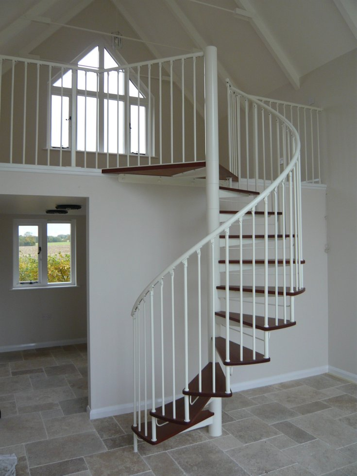 Perfect Domestic Steel And Hardwood Spiral Staircase