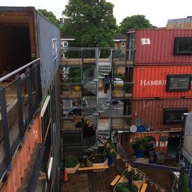 Triple flight spiral staircase to link walkways at Pop Brixton