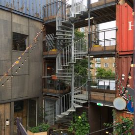 Spiral staircase installation at Pop Brixton