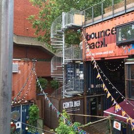 External spiral staircase at Pop Brixton