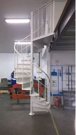 Spiral staircase in a factory