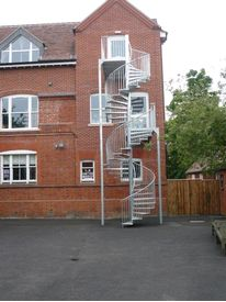 Spiral fire escape to Cambridge school