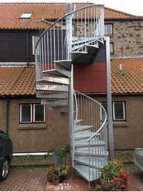 Galvanised spiral staircase in Eyemouth,Scotland