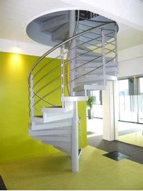 Bespoke spiral staircase to office in Fort Dunlop