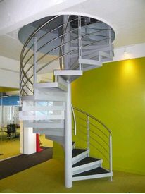 Powder coated spiral staircase with stainless steel balustrades