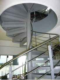 Spiral staircase with perforated riser panels