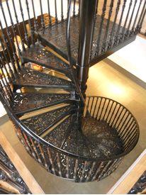 Cast iron spiral staircase finished in black