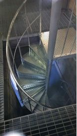 Galvanised spiral staircase to mezzanine floor