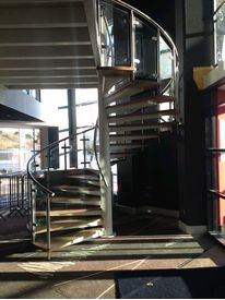 Commercial spiral staircase in reception area at Ibis Hotel,Wembley