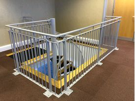 Matching stairwell balustrade to office spiral staircase in Warrington Business Park