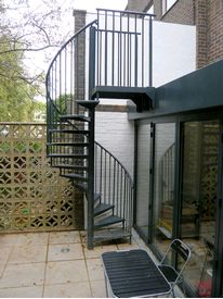 Powder coated garden access spiral staircase